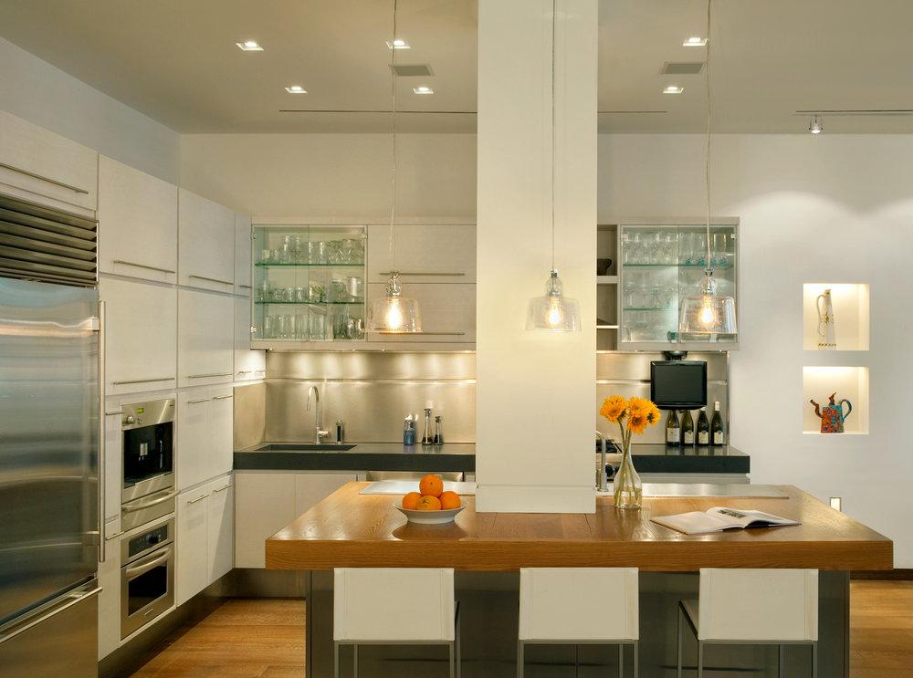 NYC Loft Renovation - kitchen and kitchen island front view