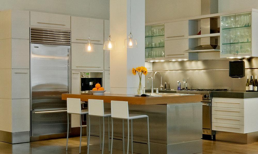 NYC Loft Renovation - kitchen and kitchen island