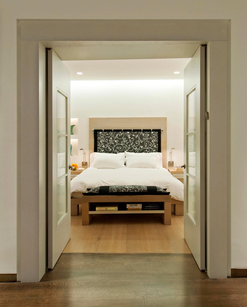 NYC Loft Renovation - View from hallway towards the master bedroom