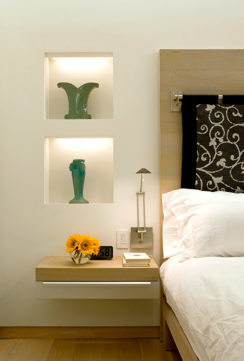 NYC Loft Renovation - bedside and wall niches