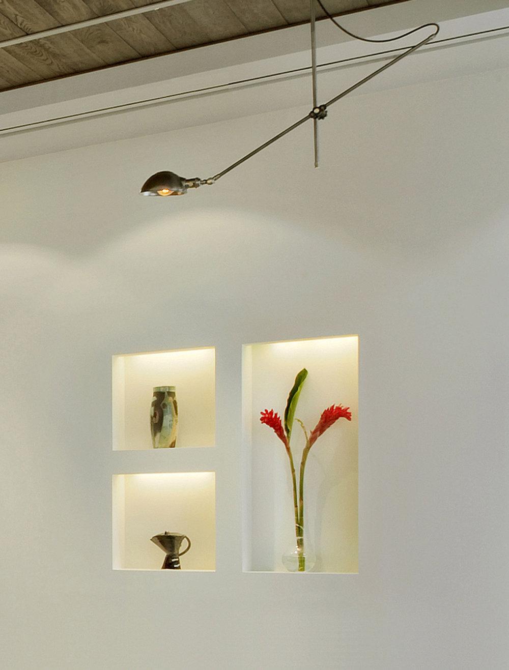 NYC Loft Renovation - Wall Niche and Pendant Light