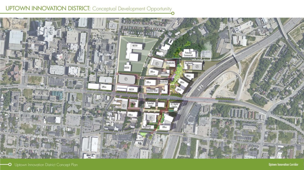 A district concept plan for the Uptown Innovation Corridor featuring maps of the planned commercial developments in Uptown Cincinnati.