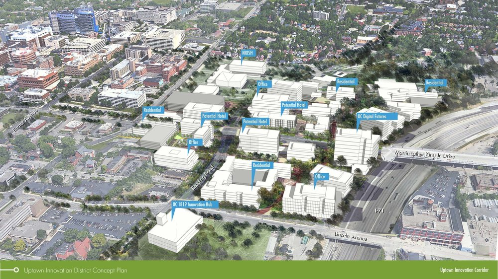A map with 3D renderings of the planned Uptown Innovation Corridor developments in Uptown Cincinnati.