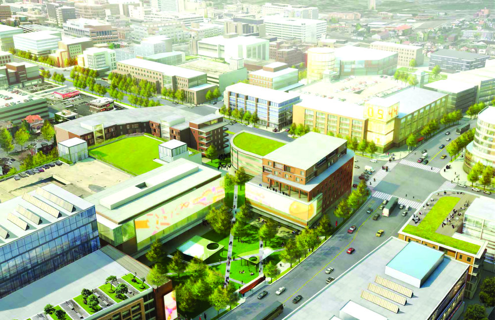 A rendering of the Uptown Innovation Corridor during the daytime.