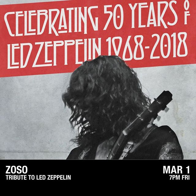 JUST ANNOUNCED: To celebrate 50 years of Led Zeppelin, @ZosoOnTour is coming to the Asbury Lanes on March 1, 2019! Tickets go on sale on Friday at 10AM- don't miss your opportunity to experience this groundbreaking band.