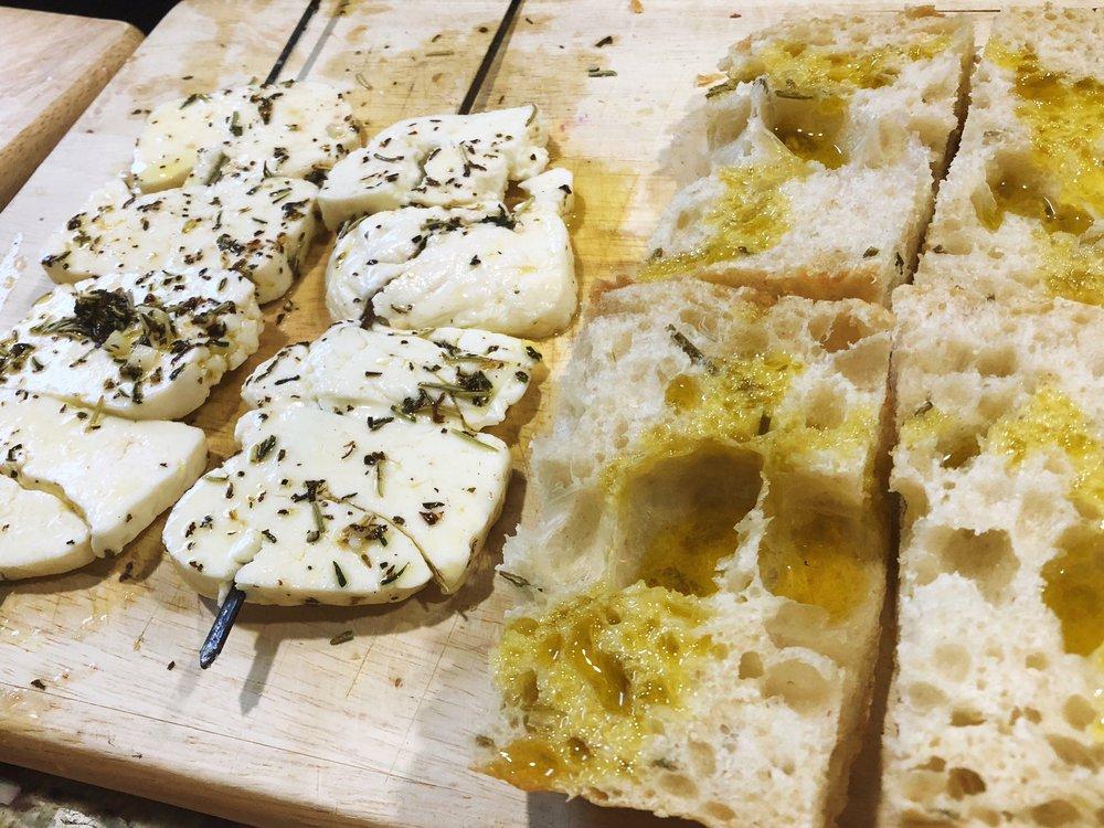 Marinated halloumi + rosemary foccacia bread