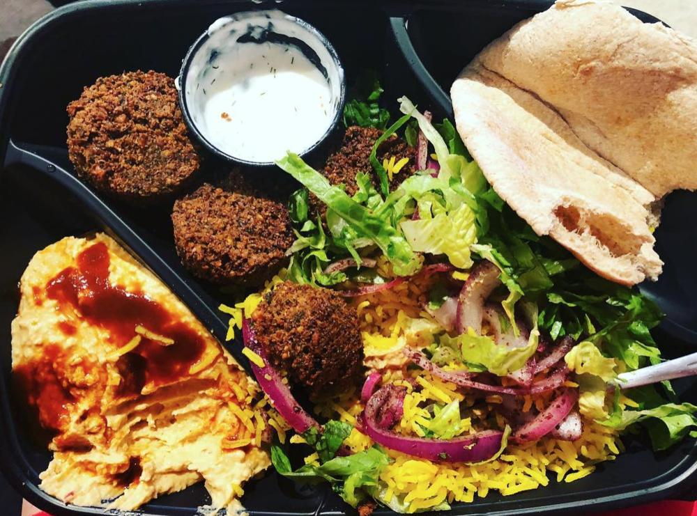Falafel Plate via Baba G Mediterranean Grill