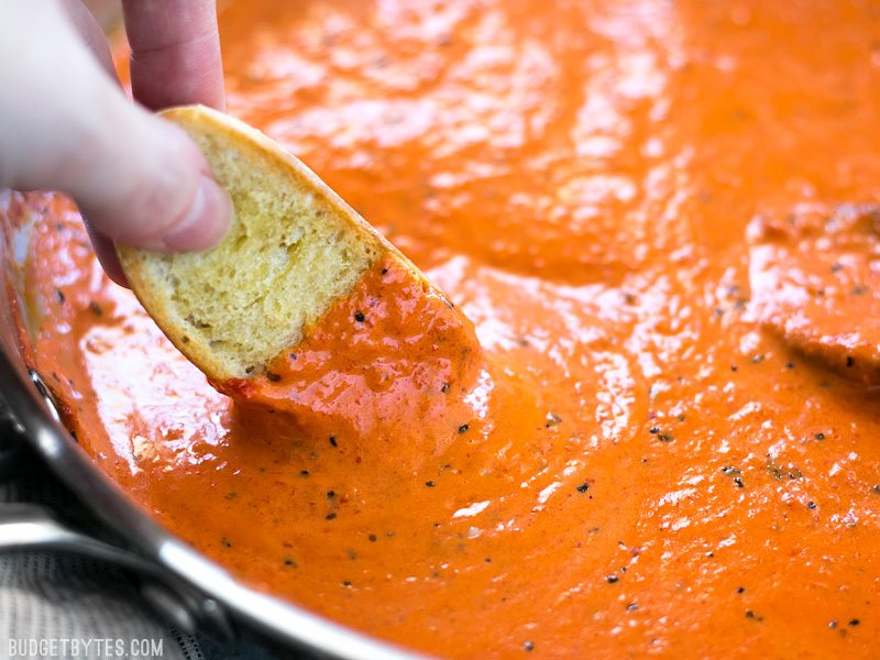 Creamy Roasted Red Pepper Sauce    via Budget Bytes