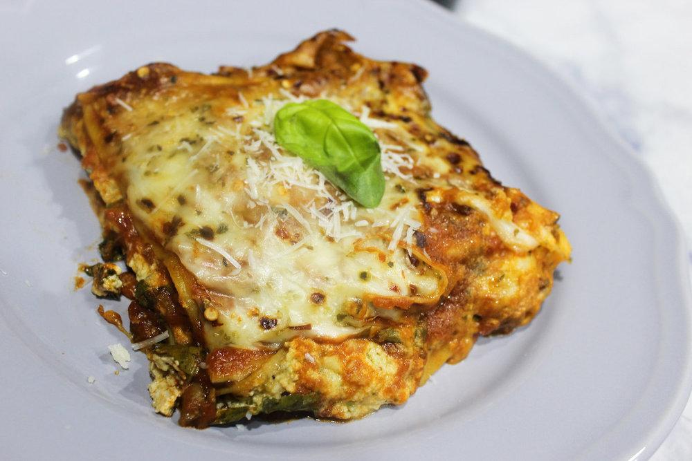 Spinach & Mushroom Pesto Lasagna