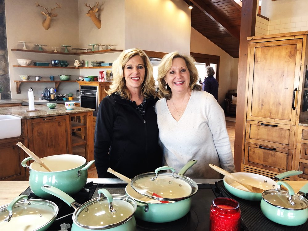 My gorgeous momma, Angie, and her friend Laura standing right where Ree stands to cook!