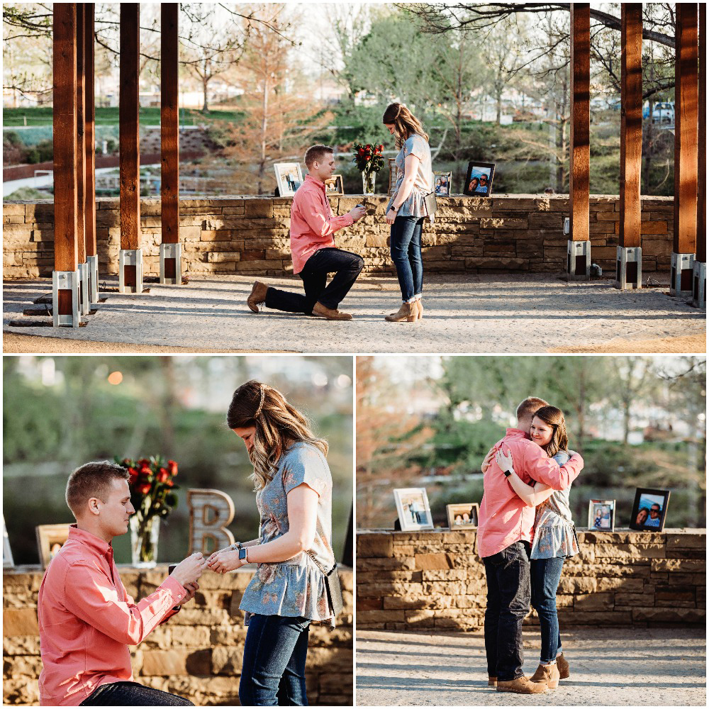 Wedding proposal at the Myriad Gardens in Downtown Oklahoma City, Oklahoma.