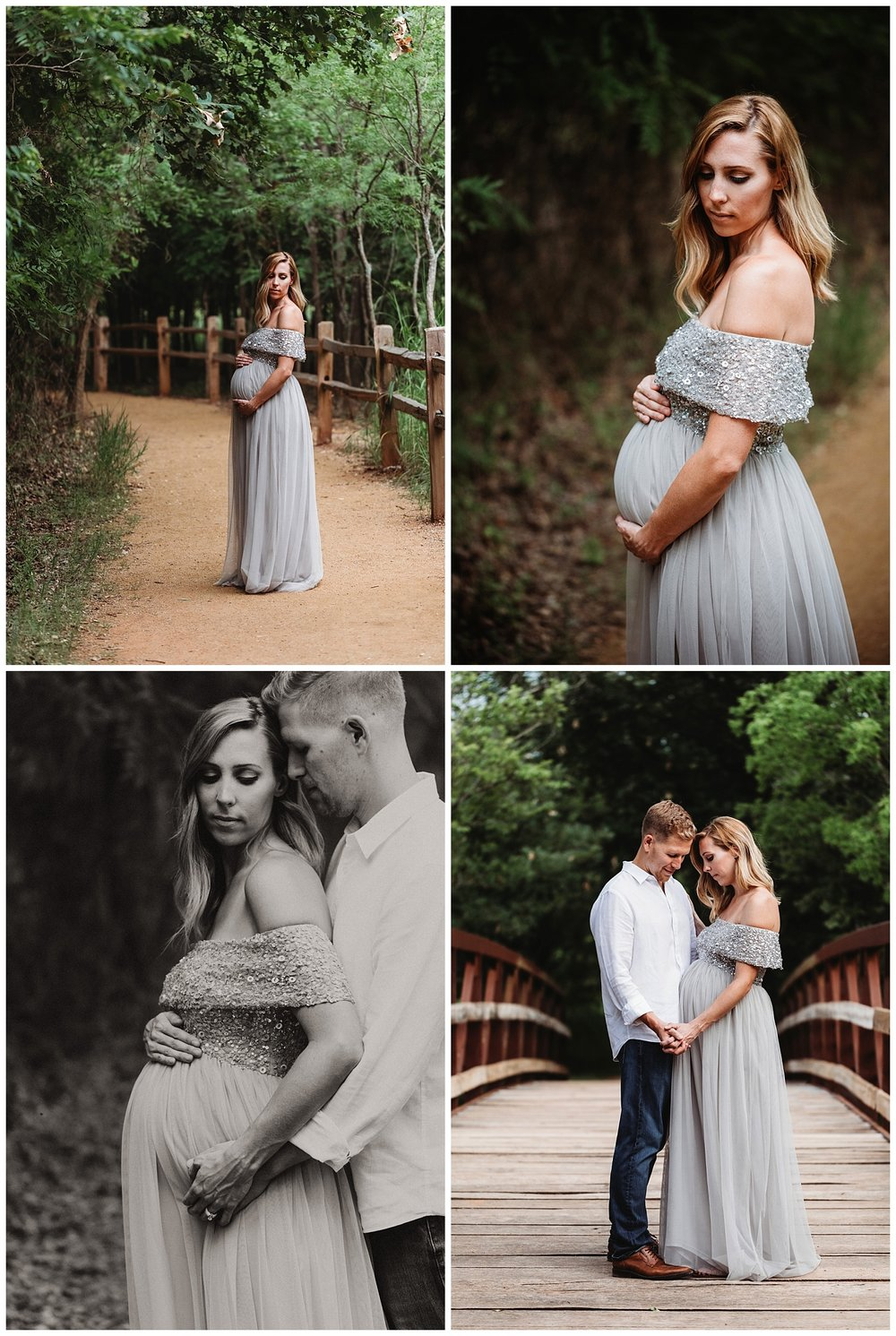 Beautiful mother to be on bridge with her love.  Oklahoma City Maternity Photos.