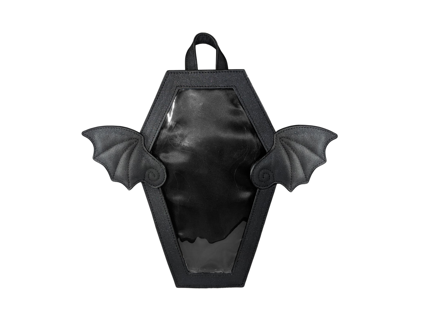 ♡ Miju Miju Black Glitter Winged Coffin Ita Bag ♡ — NattyCat