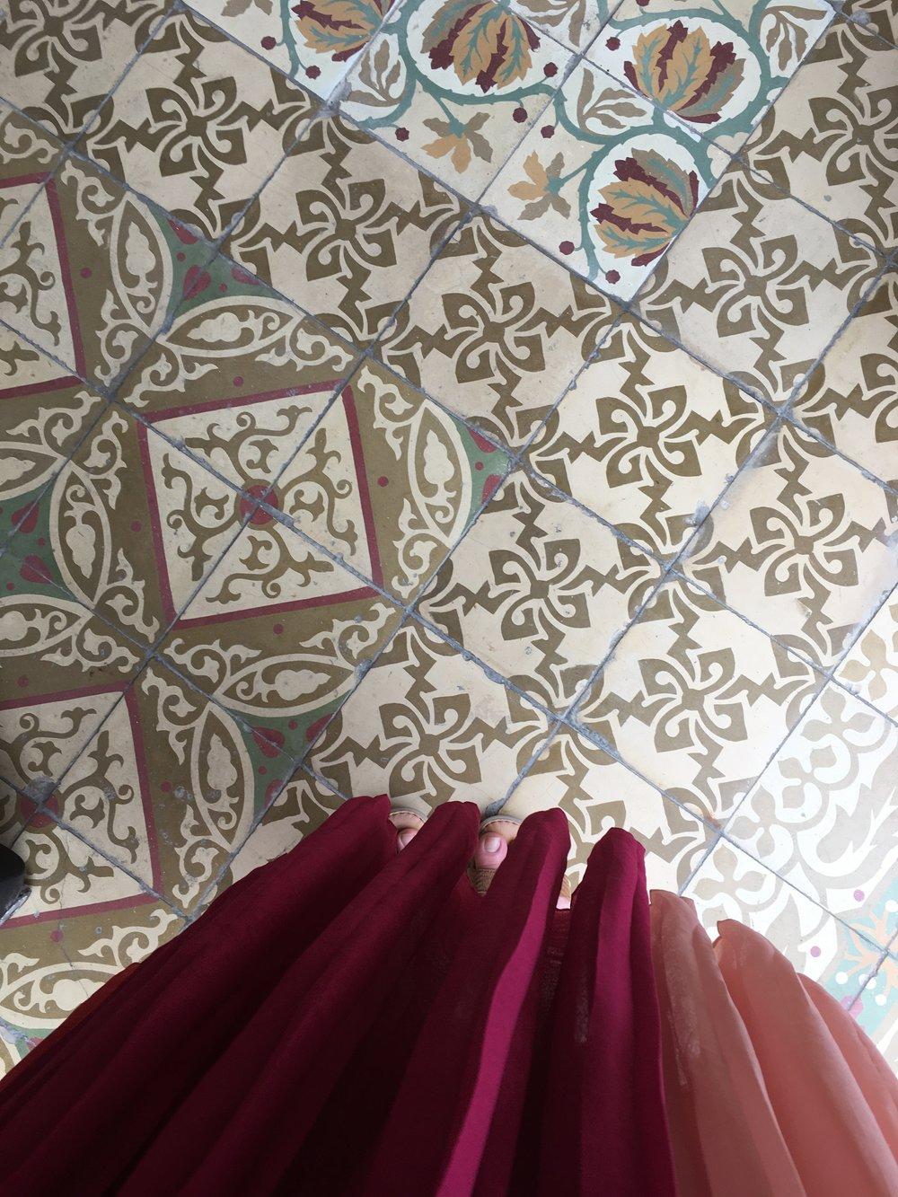 Moorish tile sidewalk in Havana, Cuba