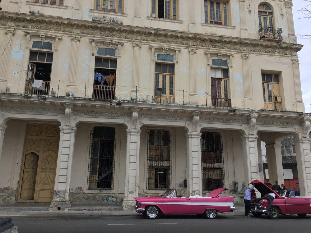 Pink vintage cars in Old Havana