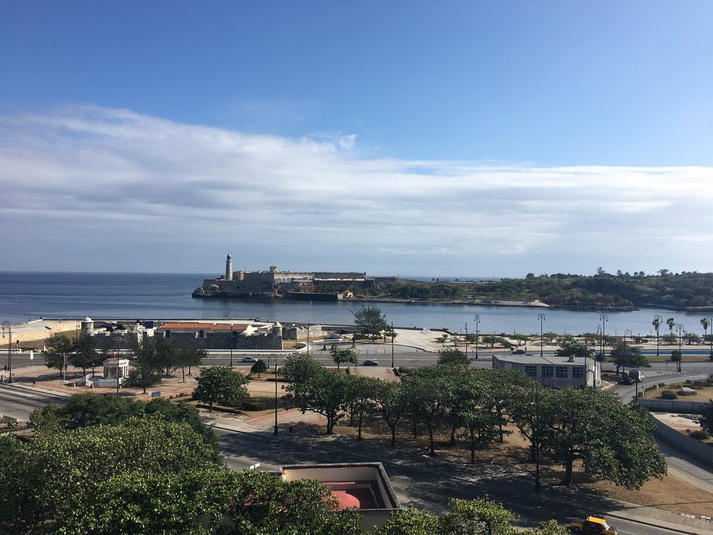 View from a clear day at my airbnb balcony looking at The Castillo de los Tres Reyes del Morro Castle