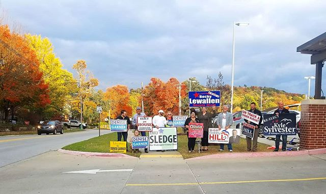 We've had about as much fun as you can have greeting voters at the courthouse over the last week! We couldnt have asked for a more beautiful backdrop today.