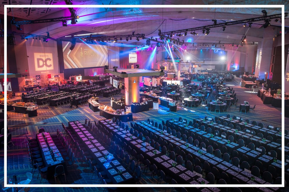 The ballroom of the Washington Convention Center all set up for The RAMMYS