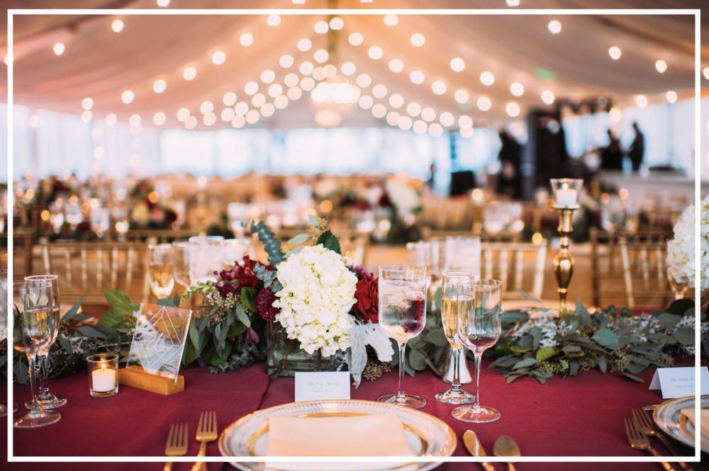 Lovely tablescapes at this Erie, PA wedding under a tent