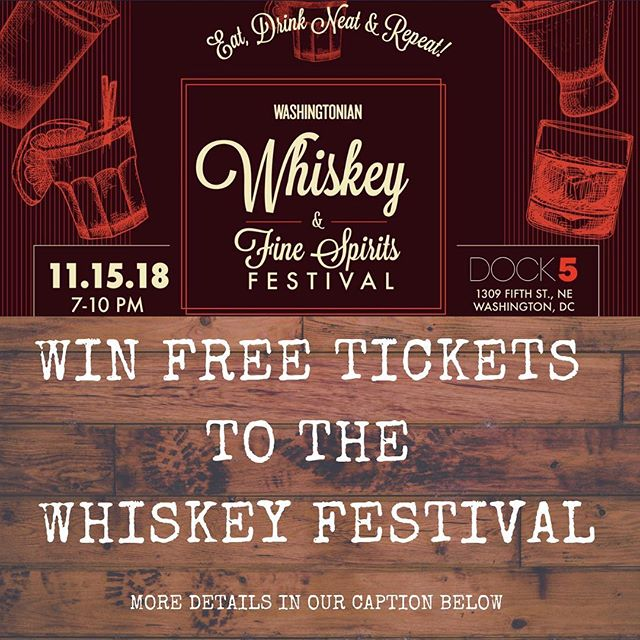 ✨GIVE AWAY ALERT✨ As a special opportunity for our followers, we're giving you the chance to win TWO TICKETS to the #whiskeyfestival! Just follow these steps:  1) Follow @rjwhyteep  2) Like this post  3) Tag a friend you'd like to bring to the @washingtonianmag Whiskey Festival and have your friend like the post as well!  Winner will be announced by noon on Tuesday (11/13). Must be 21+ to be eligible.