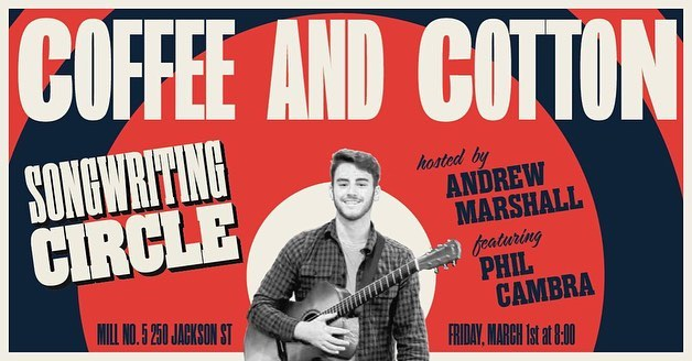 Come out to this month's Songwriting Circle at @coffee_and_cotton tomorrow from 8pm-10pm. The first hour we will be diving into @gr00vyphil 's original music followed by an open mic for all songwriters! Bring some tunes you've got or you're working on and an open mind! It's gonna be another great night filled with music 🎵 🔥🔥