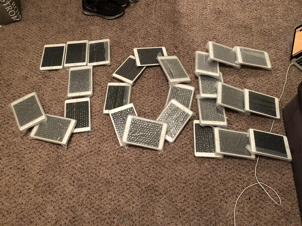 I love electronics. I run a side business flipping phones and other gadgets. I bought 29 iPad minis from one guy and had a blast arranging them into shapes and words.