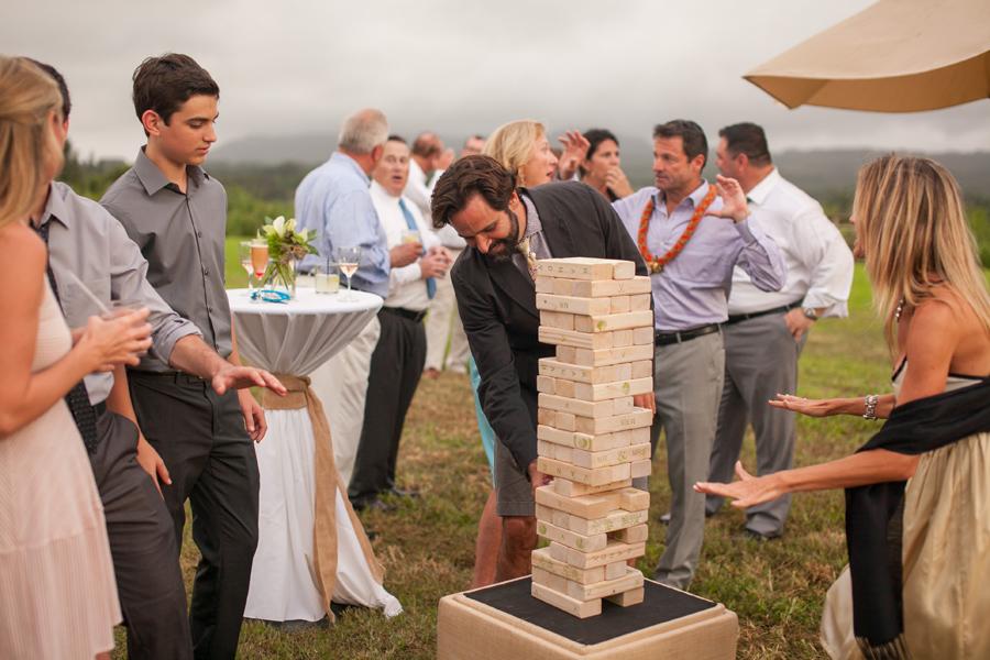 Kauai Wedding  Cocktail hour fun jenga