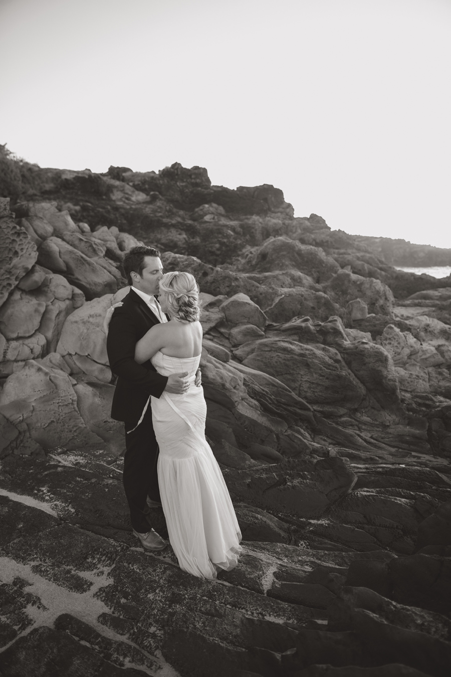 Black and White Kiss Wedding Maui Photographer