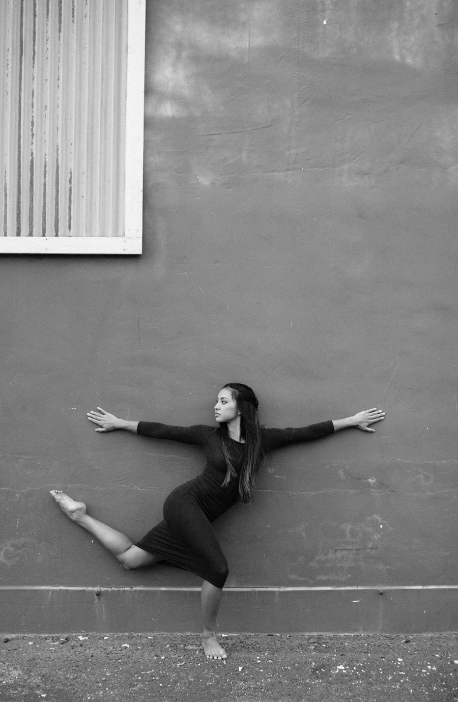 black and white dance photographer arabesque