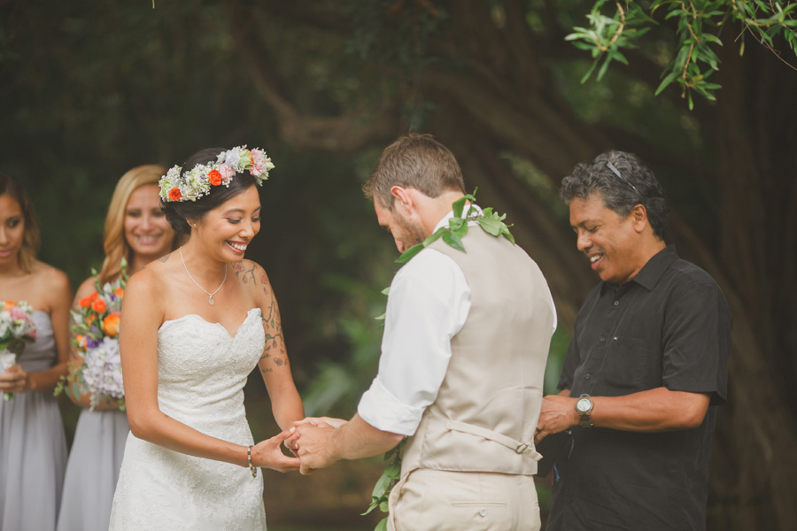 Bride Laughing at Maui Wedding Venue Bailey House Museum