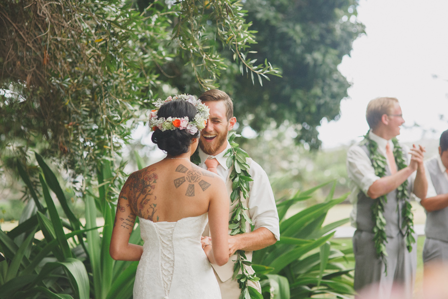 Groom Laughing at Maui Wedding Venue Bailey House Museum