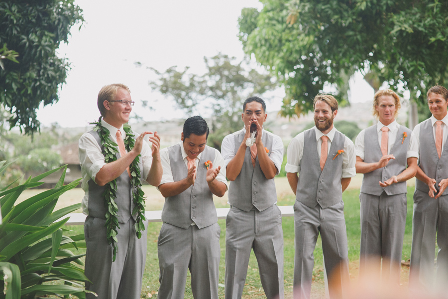 Groomsman Laughing at Maui Wedding Venue Bailey House Museum