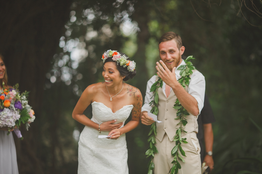 Groom and Bride Laughing at Maui Wedding Venue Bailey House Museum