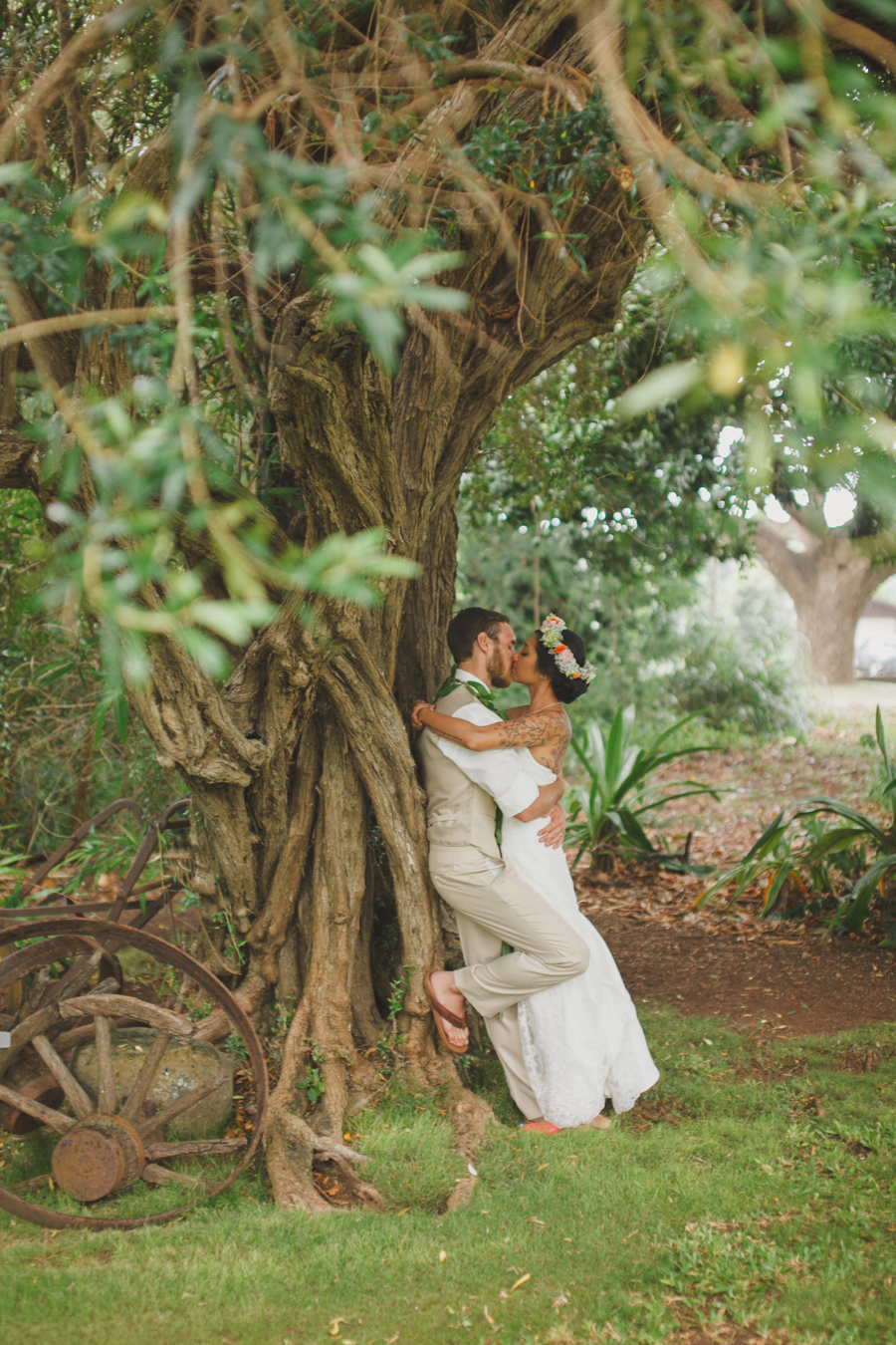 Kiss under Olive Tree for Bailey House Museum on Maui