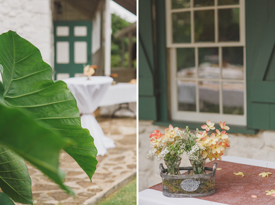 Bailey House Museum table decoration for Maui wedding