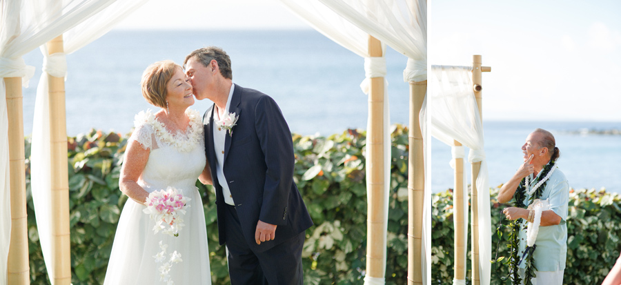 maui wedding kisses