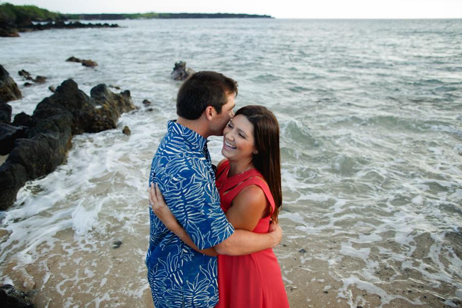 laughing engaged couple on maui