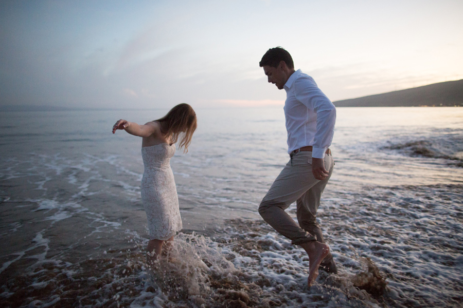 Playing In The Surf Wedding Photography