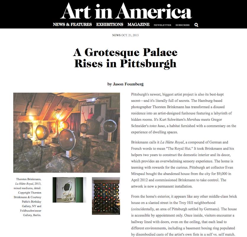 "ART IN AMERICA REVIEW OF THORSTEN BRINKMANN'S ""LA HÜTTE ROYALE"""