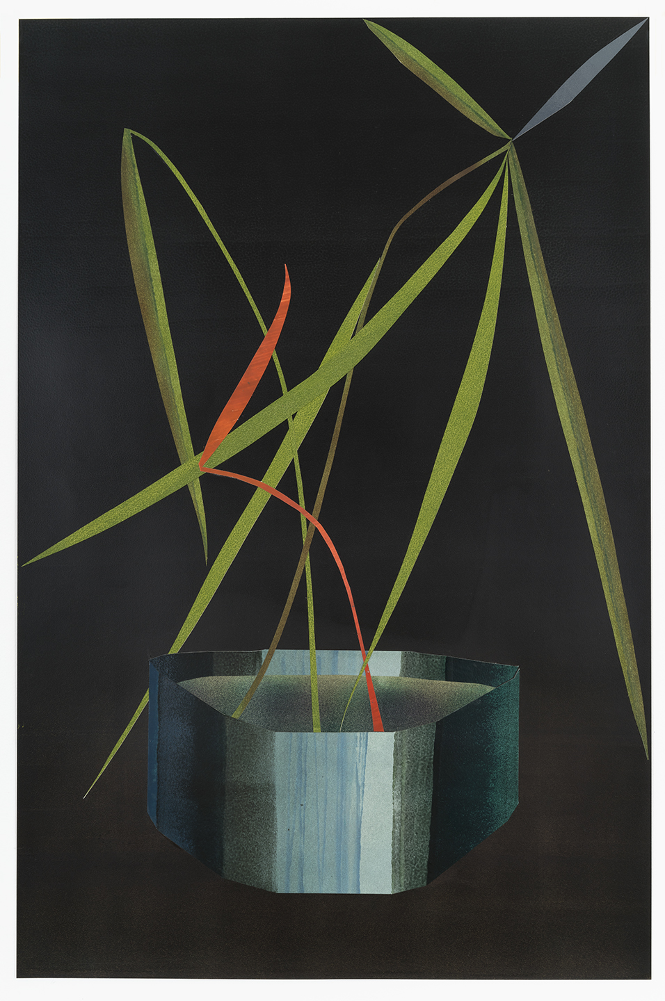 IKEBANA, 2018, 38 x 26 x 2 in, oil on paper cut out