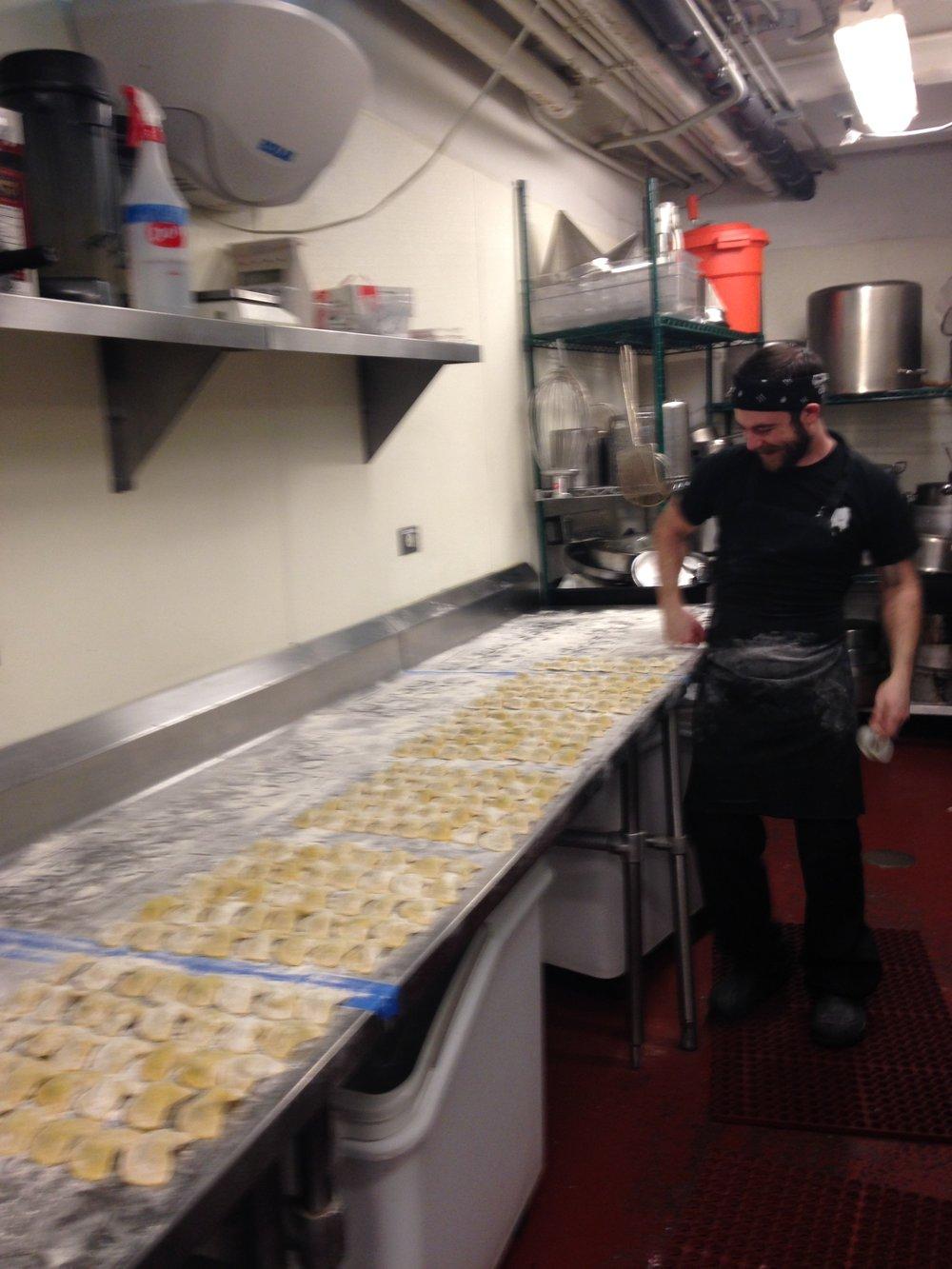 making 50 orders of escargot ravioli