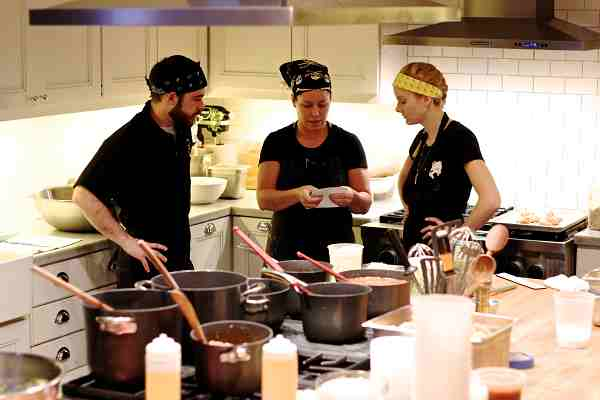 helping chef Stephanie Izard with a private event