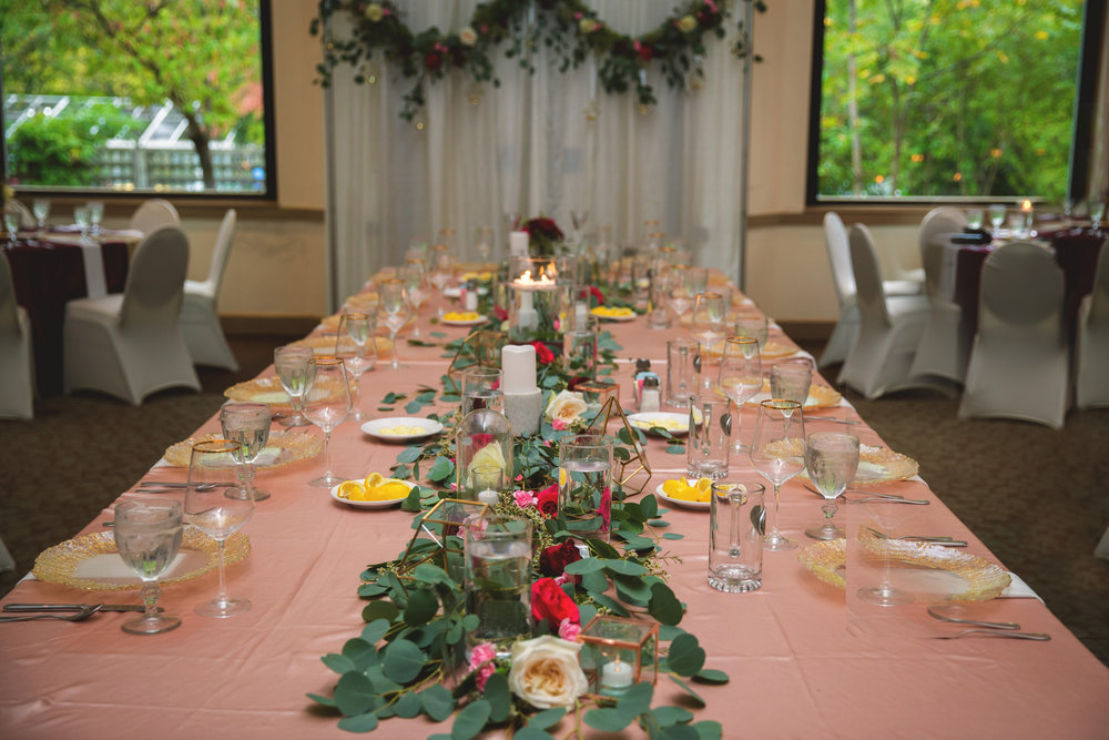 Wine and Gold Wedding