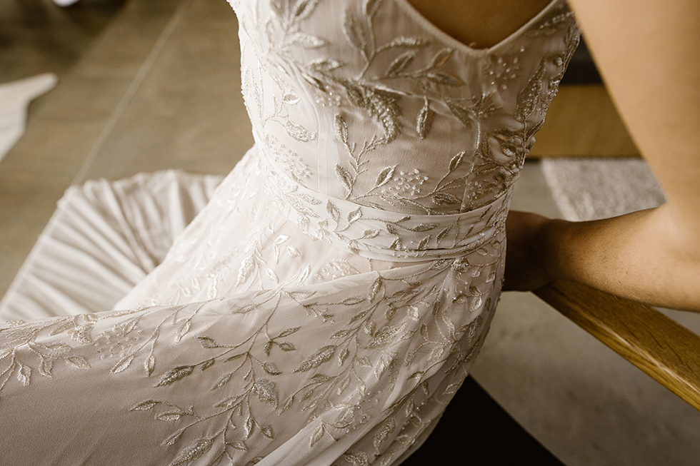 finest metallic floral embroidery by L'eto Bridal