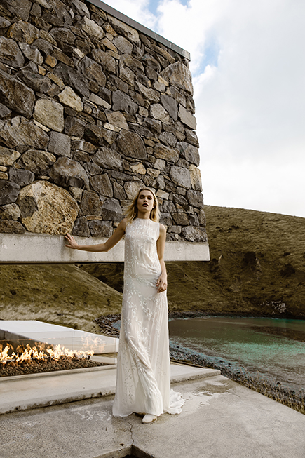 Easy loose fitted modern wedding gown by L'eto Bridal