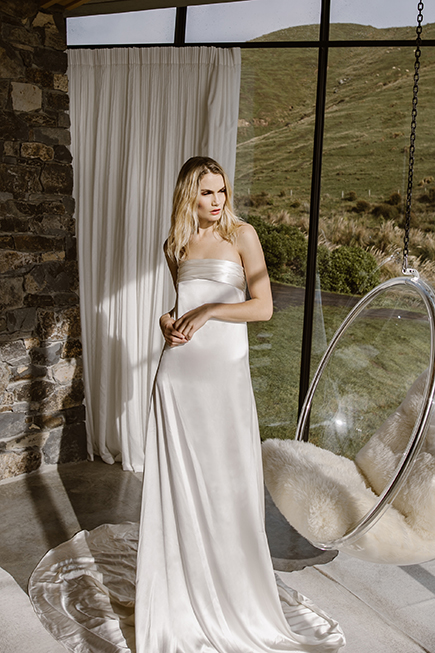 Chic strapless a-line wedding dress is simple et elegant to wear or your special day by L'eto Bridal