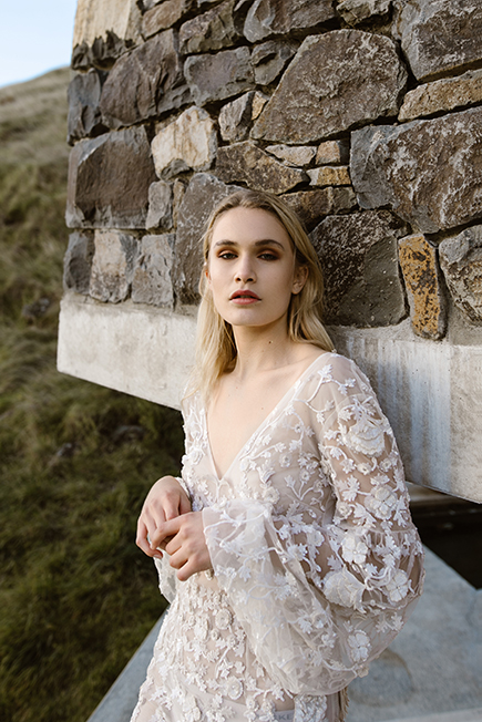 Romanti wedding gown with tulip long sleeves and long train