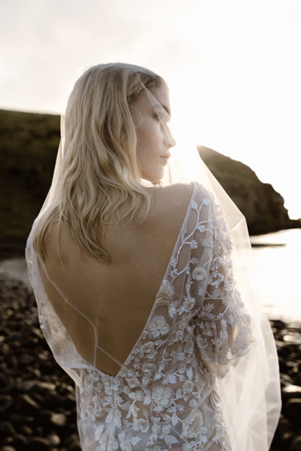 beautiful deep v back on Pice 8 by L'eto Bridal