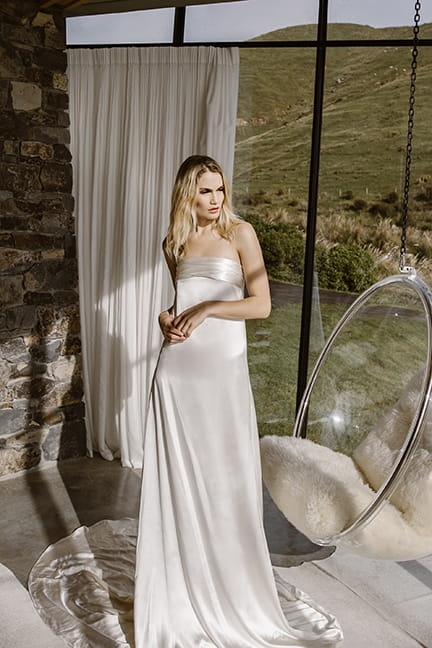 Simple a line wedding gown by L'eto Bridal