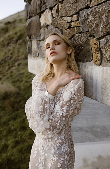 Romantic long sleevs and floral embroidery wedding gown